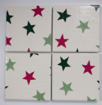 4 Ceramic Coasters in Emma Bridgewater Christmas Stars